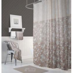 Koupelnový závěs 180x200 cm 100% Polyester - vzor 4247 - hnědý vzor se světlými květinami