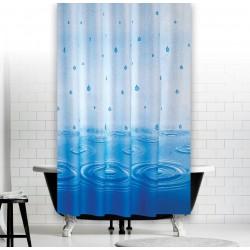 Koupelnový závěs 180x200 cm 100% Polyester - vzor 5020 modrý - kapky vody na hladině v modré barvě