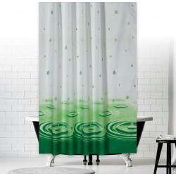 Koupelnový závěs 180x200 cm 100% Polyester - vzor 5020 zelený - kapky vody na hladině v zelené variantě