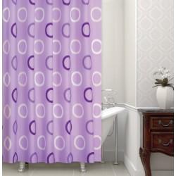 Koupelnový závěs 180x200 cm 100% Polyester - vzor 5033 fialový - kruhy na fialovém podkladě