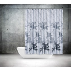 Koupelnový závěs 180x200 cm 100% Polyester - vzor 5104 ŠE - palmy ve větru v šedém provedení