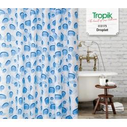 Koupelnový závěs 180x200 cm 100% Polyester - vzor 5173 MO - kapky vody, mušle a hvězdice v modrém provedení