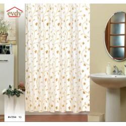 Koupelnový závěs 180x200 cm 100% Polyester - vzor 5948 béžový - jemný hnědý květinový vzor na béžovém podkladu