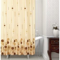 Koupelnový závěs 180x200 cm 100% Polyester - vzor 6022 BE - hnědý vzor na béžovém podkladu