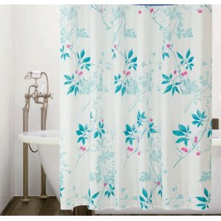 Koupelnový závěs 180x200 cm 100% Polyester - vzor 6229 - modro-zelené větvičky na světlém podkladu