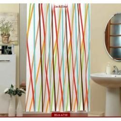 Koupelnový závěs 180x200 cm 100% Polyester - vzor 6710 - barevné proužky na světlém podkladu
