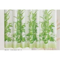 Koupelnový závěs 180x200 cm 100% Polyester - vzor 6932 ZE - zelené rostliny na světlém podkladu