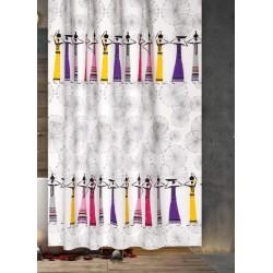 Koupelnový závěs 180x200 cm 100% Polyester - vzor 7068 - barevné dámy s šedým vzorem na světlém podkladu