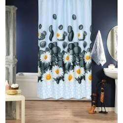 Koupelnový závěs 180x200 cm 100% Polyester - vzor 8107 - šedé kameny a kopretiny