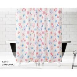 Koupelnový závěs 180x200 cm 100% Polyester - vzor 8168 - barevné květy a motýli na světlém podkladu
