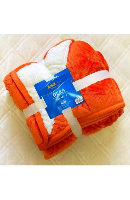 Deka s beránkem 150x200 cm jednobarevná - oranžová