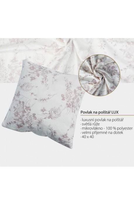 Povlak 40x40 LUX - Povlak na polštář 40x40 cm, světlá růže, 100% polyester - mikrovlákno, luxusní vzhled a velmi…