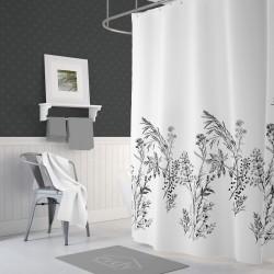 Koupelnový závěs 180x200 cm 100% Polyester - vzor 3389 ČR - černé rostliny na světlém podkladu