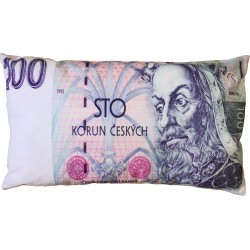 """Polštářek """"bankovka"""" - vzor 100 Kč"""