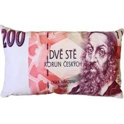 """Polštářek """"bankovka"""" - vzor 200 Kč"""