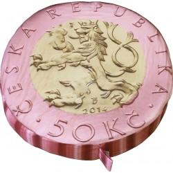 Sedák na židle - lavice - kulatý - vzor mince 50 Kč - lev