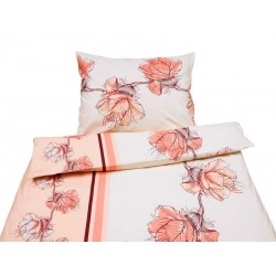 Ložní povlečení krep - vzor 475, růžovo oranžový vzor - oranžové květy na béžovém