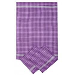 Kuchyňská utěrka 3 kusová - fialovo-bílá kostka